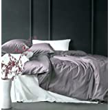 Solid Color Egyptian Cotton Duvet Cover Luxury Bedding Set High Thread Count Long Staple Sateen Weave Silky Soft Breathable Pima Quality Bed Linen (King, Dusty Lilac) (Color: Dusty Lilac, Tamaño: King)