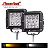 "LED Light Bar, Autofeel 4"" 144W Quad Row 12D Fog Light LED Work Light Amber Light Bar Driving Light Fog Light Snow Light Spot Beam for Jeep, Truck, Heavy Duty, Pack of 2"