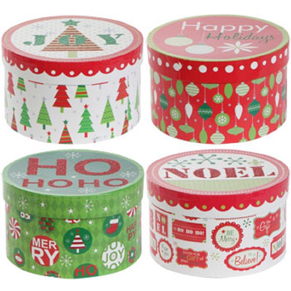 Voila Round Nesting Christmas Gift Boxes (4 Pc Set)