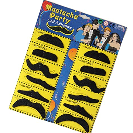 71HBgVxzkNL. UX466  Self Adhesive Set 12 Fake Mustaches Costume Party Disguise