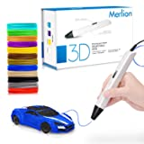 Merlion Christmas Gifts 3D Pen for Kids ,Toys For Kids 3D Pen with 1.75mm PLA Filament Pack of 12, Each Color 10 Feet, 3D Printing Pen with OLED Screen is for Kids,Artist, Adults Upgraded (Color: White)