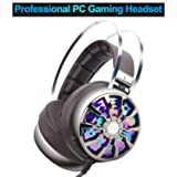 PC Gaming Headset with Microphone, Wired Over Ear USB Gaming Computer Headphones Noise Canceling with 7.1 Virtual Surround Sound 3D Vibration 4 Speakers with Hidden Mic, Vibration Control, LED Light