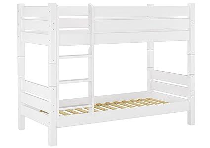 60. 16-08 t80 linilou lits superposés w pour adulte blanc 80 x 200 cm, niche 80 cm + 2 sommiers à lattes fournis