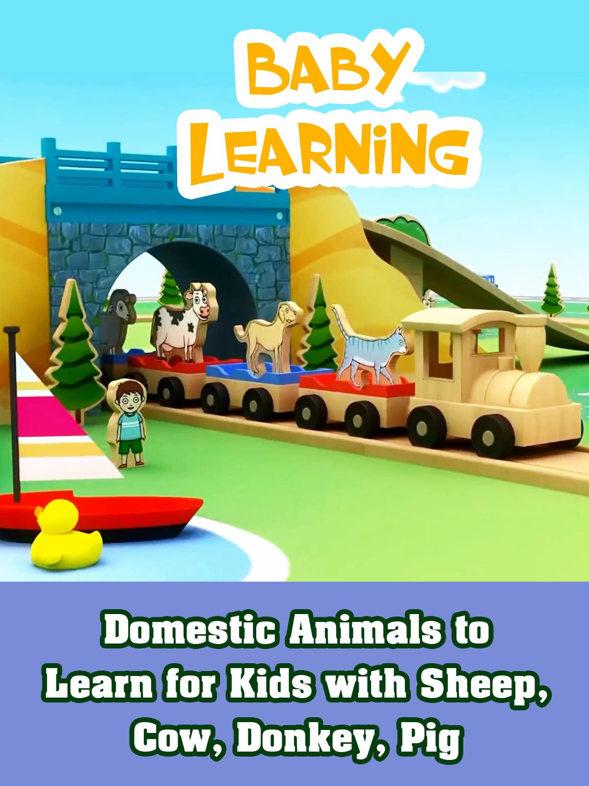 Domestic Animals to Learn for Kids with Sheep, Cow, Donkey, Pig