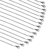 50 Pcs 20 Inches Stainless Steel Chain Necklace Dark Silver Flat Links Cable Chains Necklace,1.5mm