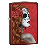 Zippo Day of The Dead Girl Pocket Lighter, Candy Red Apple (Color: Candy Apple Red)