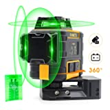 KAIWEETS Laser Level 3 X 360 Green Line, Self-Leveling Contruction Laser with Pulse Mode, Working time up to 44h, with 2 Rechargeble Lithium Batteries, Magnetic Pivoting Base, Target Plate(KT360A)