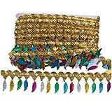 MELADY Pack of 10yards Sequins Leaves Hanging Tassel Lace Dance Clothing Accessories Fringe Trim (Golden Colorful) (Color: golden colorful)