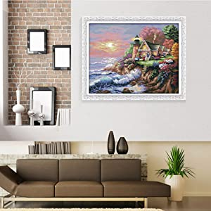 eGoodn Stamped Cross Stitch Kit Accurate Pre-Printed Pattern Scenery- Seaside Lighthouse 11ct Fabric 22 inches by 17.7 inches, Cross-Stitching Needlework DIY Embroidery No Frame (Color: The Seaside Lighthouse)