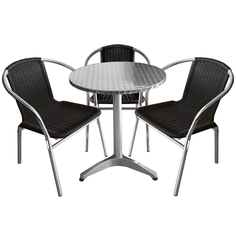 4tlg Bistro-Set – Aluminium Bistrotisch Ø60cm Alu Bistrostuhl Polyrattan – Sitzgarnitur Sitzgruppe Gartenmöbel Set Silber / Schwarz jetzt kaufen