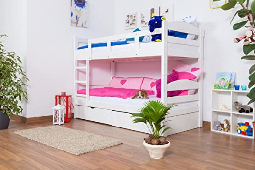 """Lit Mezzanine / Lit superposé """"Easy Sleep®"""" K3/n avec 2 triroirs et 2 panneaux de masquage, 90 x 200 hêtre massif blanc"""