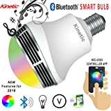 Kinetic Bluetooth Speaker Color Changing Light Bulb Smartphone Ready with Remote Control Smart Light Bulb Multicolored Disco Light Sleeping Light Memory Function Mood Light Stage Nightclub Party Light (Color: Multi)