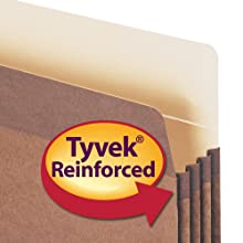 Smead Pockets, Letter Size, Straight Cut, 3-1/2 Inch Expansion, Rollover Tyvek at Top-reinforced Sides, Redrope, 50 Per Carton (73805)