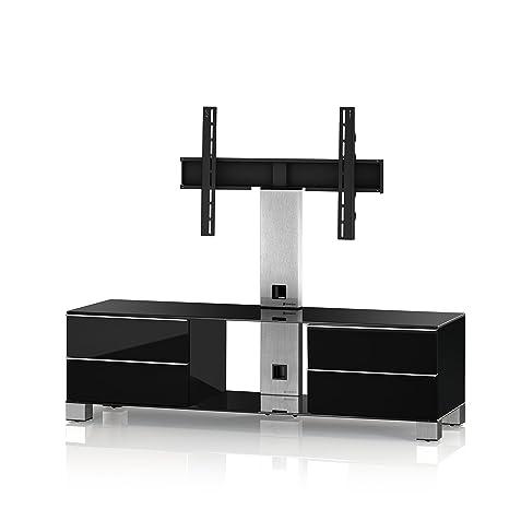 Sonorous MD 8540-B-INX-BLK Fernseher-Möbel mit Schwarzglas (Aluminium Inox, Korpus Hochglanzdekor) schwarz