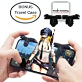 Mobile Game Controller for iPhone and Android | Play PUBG, Fortnite, Knives Out, Rules of Survival | + BONUS Travel Case - Shoot and Aim Phone L1R1 Button Triggers (1 Pair) (Color: Black)