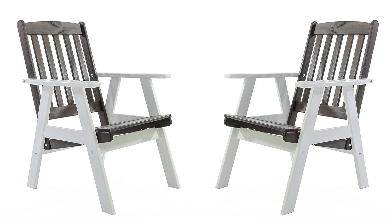 Ambientehome Gartensessel verstellbarer Sessel Stuhl Gartenstuhl Massivholz Hochlehner VARBERG, Weiß/Taupegrau, 2-teiliges Set kaufen
