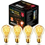 ANYQOO Victorian Vintage Edison Bulb 40W A19 Dimmable Spiral Filament Incandescent Lamp for Decorative Pack of 4