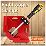 Wood Clamps Right Angle Clamps,Corner Clamp Single Handle 90°Aluminum Alloy Corner Clamp for Carpenter, Welding, Engineering, Photo Framing,Adjustable Swing Jaw(Width:3.7'',Opening:2.7''),red . (Color: Red)
