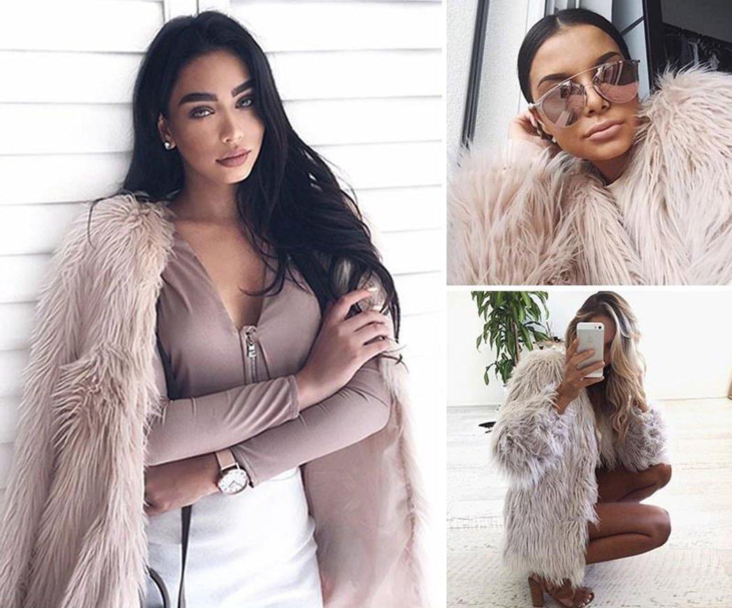 Naggoo Women's Fluffy Faux Fur Coat Winter Long Sleeve Warm Outerwear 1