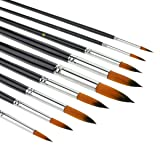 9pcs Round Pointed Tip Pony Hair Artists Filbert Paintbrushes, Marrywindix Watercolor Paint Brush Set Acrylic Oil Painting Brush black