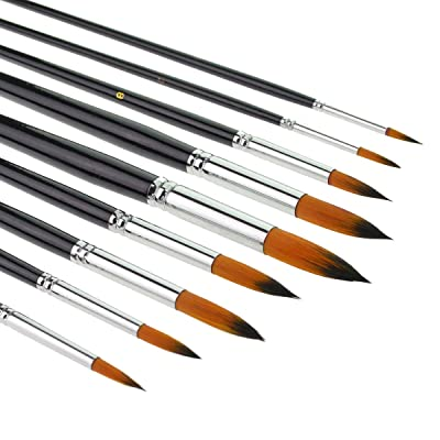 9pcs Round Pointed Tip Pony Hair Artists Filbert Paintbrushes, Marrywindix Watercolor Paint Brush Set Acrylic Oil Painting Brush black via Amazon