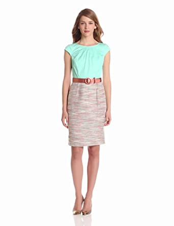 Nine West Dresses Women's Belted Solid Print Dress, Minted Ice Combo, 4