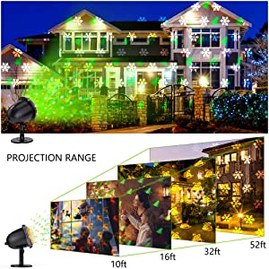 Christmas Projector light, LED Decorative Lights Display with Wireless Remote Control, Waterproof, Colorful & Festive Four Pattern Rotating Effect, Ideal for Xmas Party Yard Garden Decor (Color: Christmas Projector Light)