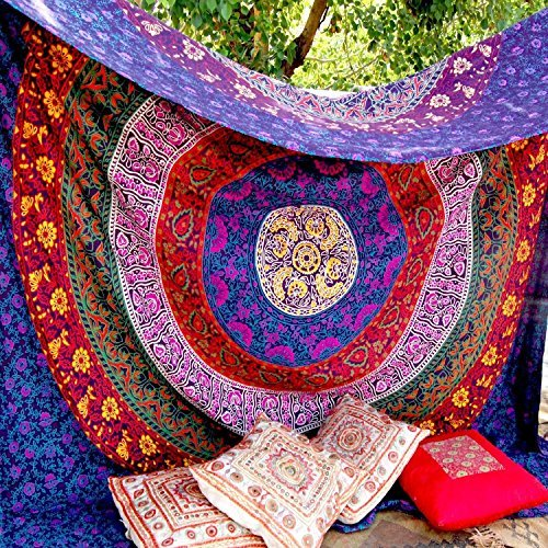 Healing Crystals India - Indian Hippie Mandala Tapestry, 220 x 240 cm by Healing Crystals India