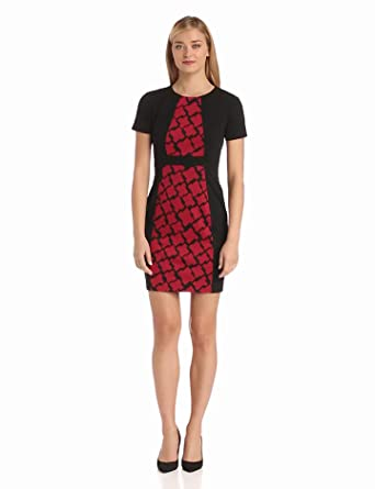 Anne Klein Women's Petite Houndstooth Combo Ponte Sheath Dress, Black, 10