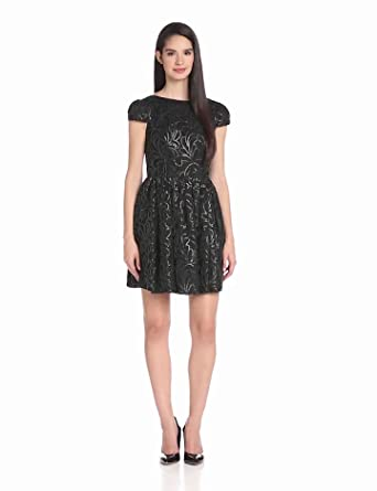 Jill Jill Stuart Women's Short Sleeved Fit and Flare Dress, Onyx, 6