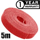 16FT (5m) Reusable Cable Tie Roll Hook and Loop Fastening Tape Straps Wire Cord Wrap Management Organizer (Color: 5m red)