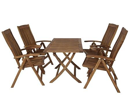 Sitzgruppe 4 Hochlehner Stuhle 1 Tisch Gartenmöbel Holz Gartentisch Esstisch Sitzgarnitur 29314