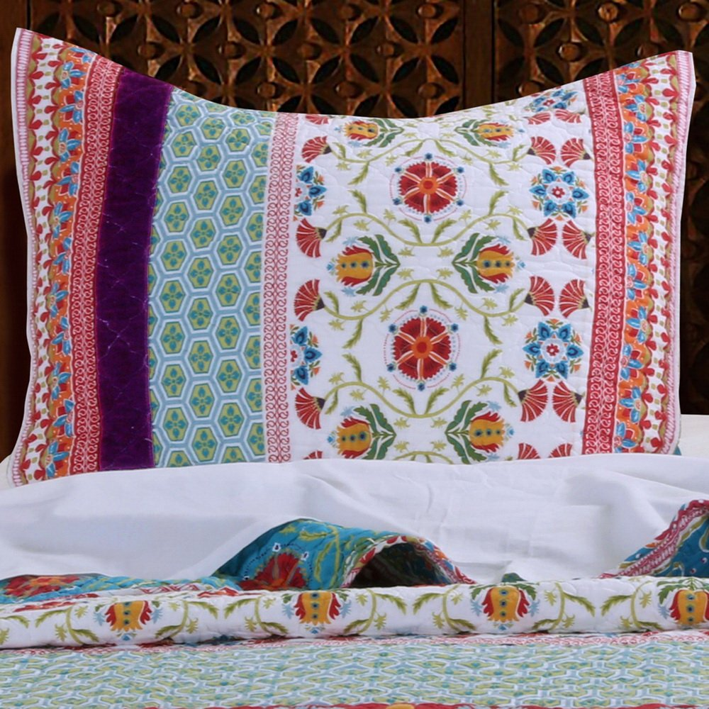 Retro Boho Quilt Set with Shams Print Geometric Floral Pattern Mandala Medallions Blue Red Yellow 100 Cotton Reversible 3 Piece Bedding Double Full Queen - Includes Bed Sheet Straps 3