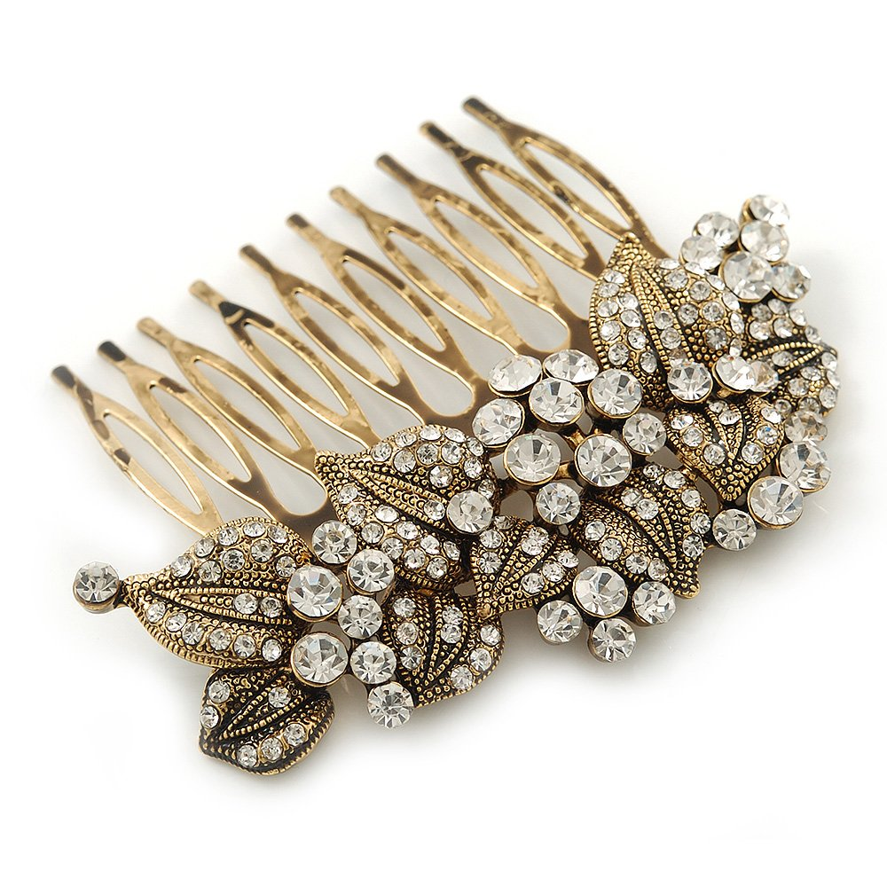Vintage Inspired Bridal/ Wedding/ Prom/ Party Austrian Clear Crystal 'Leaves & Flowers' Hair Comb In Antique Gold Metal - 80mm 0