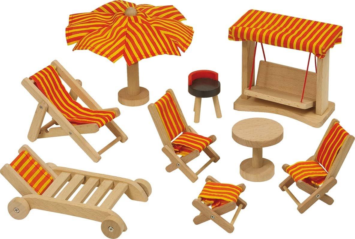 Goki 51913 – Gartenmöbel, 9-teilig, Puppenhausmöbel bestellen