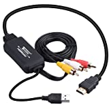 HDMI to AV Converter Adapter - Tendak HDMI to RCA Cable, HDMI to Composite CVBS Analog Video Audio Converter with USB Power HDMI 3RCA Cable for TV/STB/Blu-ray DVD/Xbox/PS3 PS4 (Color: HDMI to RCA Cable)