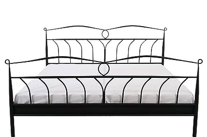 AC Design Furniture 7500000376 Metallbett Lis, Liegefläche 180 x 200 cm , ohne Lattenrost, circa 193 x 105 x 208 cm, Lack schwarz