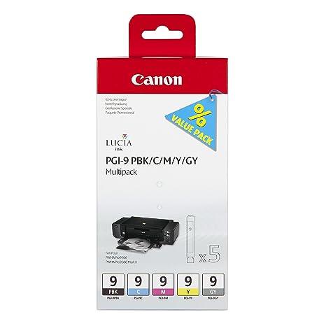 Canon PGI-9 PBk/C/M/Y/GY Multi-Pack Pack de 5 Cartouches séparées pour Imprimante jet d'encre pixma pro9500 et pixma pro9500 mark 2 Photo Noir/Cyan/Magenta/Jaune/Gris