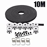 Kee pang 10M Rubber Opening Belt 6mm Width+8pcs GT2 Pulley 20 Teeth Bore 5mm +4pcs Belt Locking Spring for 3D printer (Tamaño: 10M)