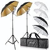 Neewer Flash Mount Three Umbrellas Kit (2) 33/84cm White Soft/Silver Reflective/Gold Reflective Umbrella for Canon 430EX II,580EX II,Nikon SB600 SB800,Yongnuo YN 560,YN 565,Neewer TT560,TT680