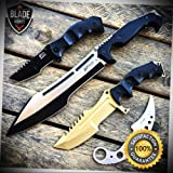 4PC KARAMBIT HUNTING MACHETE SPRING ASSISTED POCKET KNIFE Fixed Blade - Outdoor For Camping Hunting