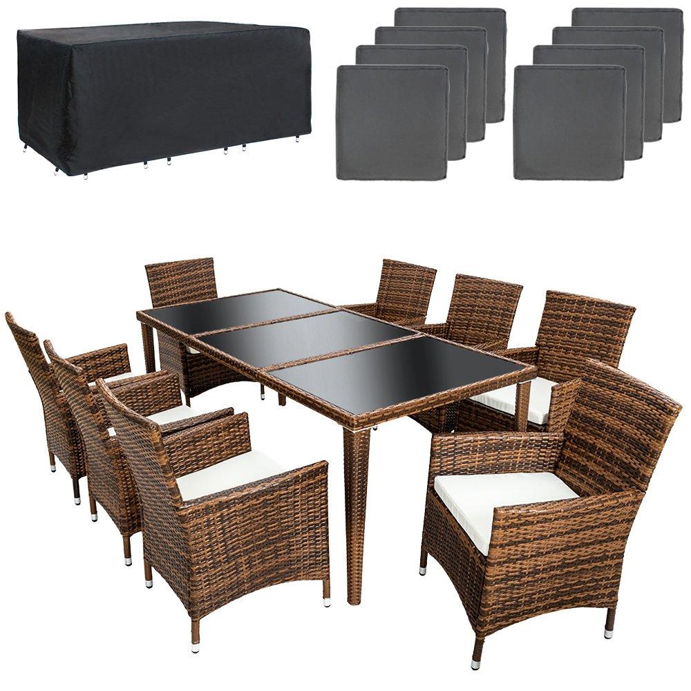 TecTake Poly Rattan Aluminium Gartenmöbel Gartengarnitur Essgruppe Gartenset Sitzgruppe 8+1 schwarz-braun + 2 Bezugsets + Regenhaube, Edelstahlschrauben kaufen