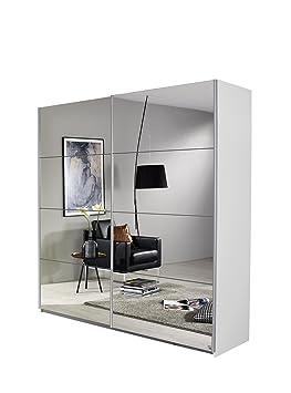 Rauch Schwebeturenschrank-Kleiderschrank mit Spiegelfront, Korpus Weiß Alpin, 2 turig, BxHxT 136x197x61 cm