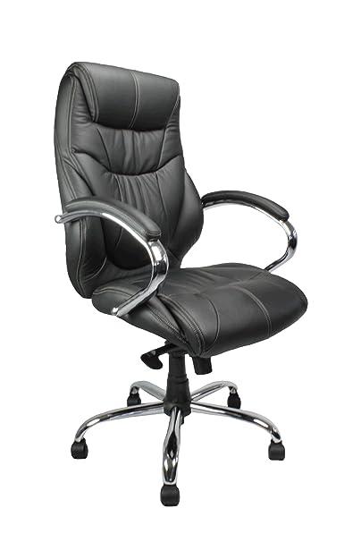 Eliza Tinsley 617KTAG/LBK High Back Leather Faced Executive Armchair with Chrome Base
