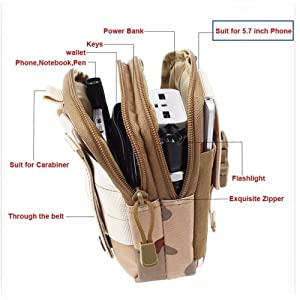 ZY Universal Outdoor Tactical Holster Military Molle Hip Waist Belt Bag Wallet Pouch Purse Phone Case with Zipper for iPhone 7 6s Plus 5S Samsung Galaxy S7 S6 LG HTC and More (Khaki)
