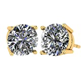 NANA 14k Gold Post & Sterling Silver 4 Prong CZ Stud Earrings -Yellow Plated-5.25mm-1.00cttw