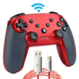 Switch Pro Controller,Wireless Switch Controller for Nintendo Console,with LED Type C Charging Cable(Red) (Color: red)