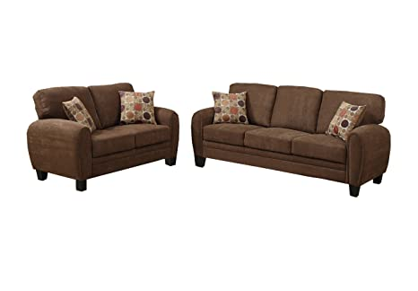 Poundex Bobkona Torrance Plush Microfabric 2-Piece Sofa and Loveseat Set, Dark Brown