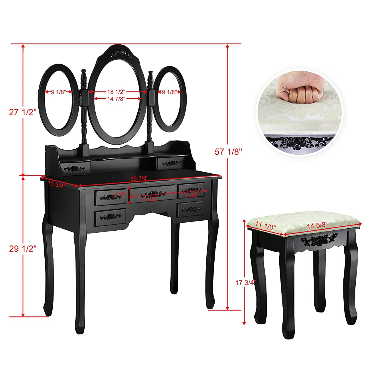Tribesigns Vanity Makeup Table Set with Stool and Mirror (3 Mirror + 7 Drawer) 6