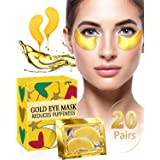 Under Eye Patches for Puffiness - 20 Pairs iMethod 24K Gold Hydrogel Collagen Eye Mask, Under Eye Bags Treatment, Great for Reducing Dark Circles, Puffy Eyes & Fine Lines (Tamaño: 20 Pairs)